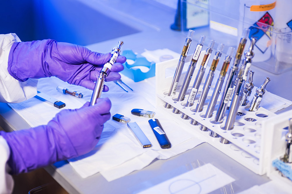 Picture of vape pens being tested in a lab
