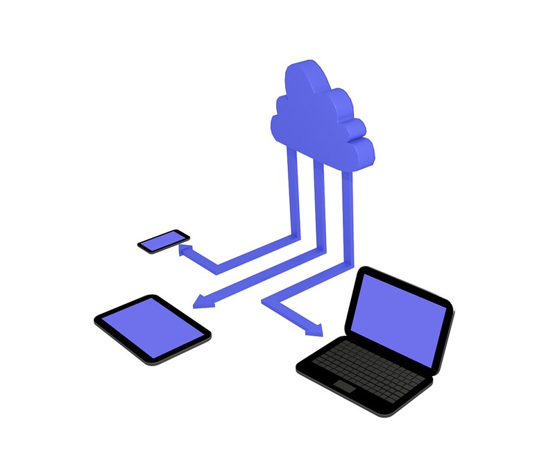 Graphic of electronic devices connected to a cloud