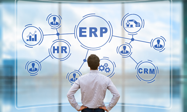 Picture of man looking at ERP diagram