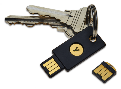Picture of a YubiKey 4 on a keychain and a YubiKey 4 Nano